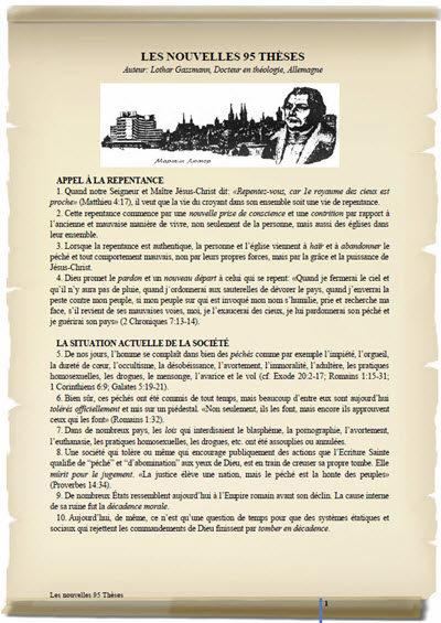 LES NOUVELLES 95 THÈSES en langue francais